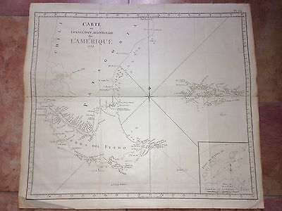 ARGENTINA PATAGONIA FALKLAND ISLANDS by COOK 1775 LARGE COPPER ENGRAVED MAP