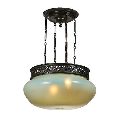 Rare Antique Vaseline Glass Inverted Dome Chandelier, Early 1900s, NC2559