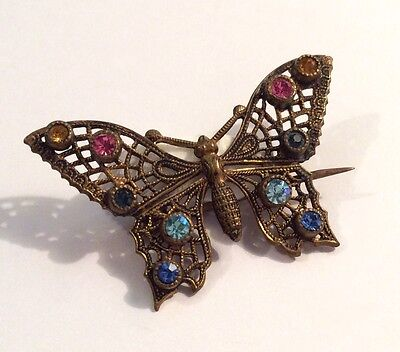 Small vintage Czech gold-tone metal & faceted coloured glass butterfly brooch