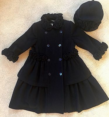 Sarah Louise Girls Navy Coat And Hat Wool / Cashmere 4 years
