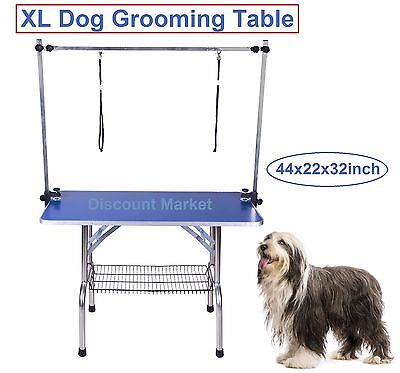 """Pet Grooming Table With Arm Noose Extra Large 44"""" Dog PRO Folding Adjustable New"""