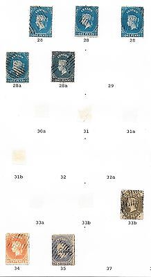 Ceylon stamps 1861 Specialised Collection between SG 28-35  CAT VALUE $195