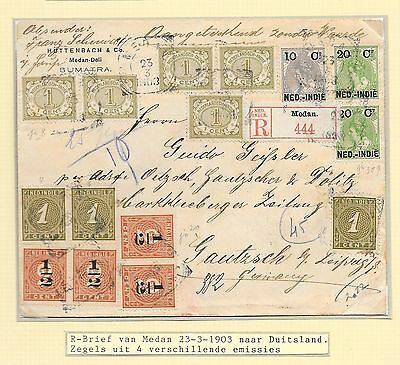 Netherlands Indies covers 1903 mixed! franked R-cover Medan to Gautzsch