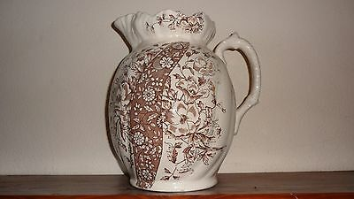 ANTIQUE c1885 AESTHETIC MOVEMENT LARGE WASH STAND JUG PITCHER FLORAL PN BROWN