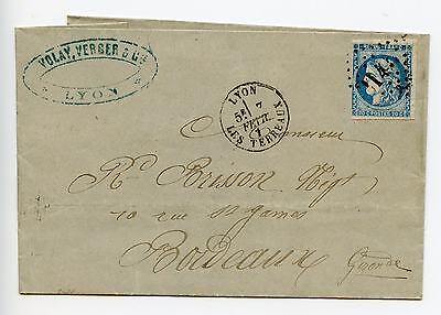 France 1871 complete folded letter Lyon to Bordeaux (J370)