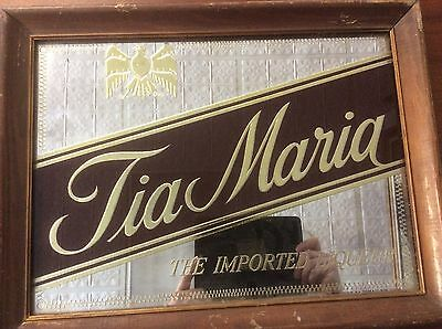 Vintage  TIA MARIA Mirror Liquer Sign Wood Framed