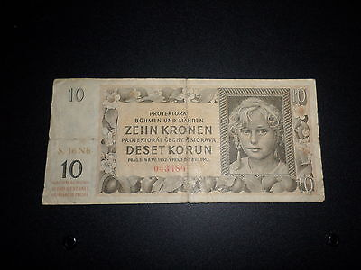 1942 Bohemia And Moravia 10 Kronen Bank Note