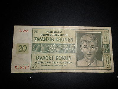 1944 Bohemia And Moravia 20 Kronen Bank Note