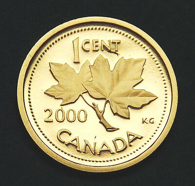 2000 Canada 1 cent frosted proof penny from Proof Set - ultra cameo