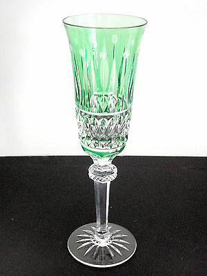 1 Baccarat Lt Emerald Cased Cut To Clear Crystal Champagne Flute  Signed