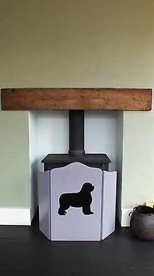 Fire Guard - Hand Crafted Heavy Weight With Black Newfoundland Dog On The Front