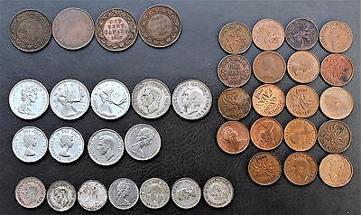 Lot of 39 Canada coins - mixed - dates 1917 - 1970's (mostly older)