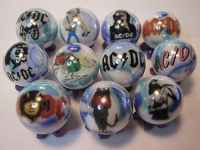 Ac/dc Glass Marbles Collection Lot  5/8  Size + Stands