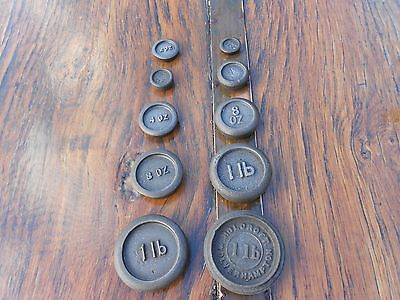 10 Vintage Imperial Iron Weights for Kitchen Balance Scales