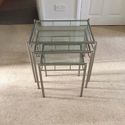 Nest of tables - metal and glass