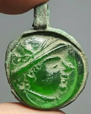 Old Rare Wonderful Bronze Pendant With face in Glass # I