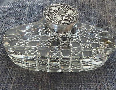 Victorian Art Nouveau Silver Plated Hobnail Cut Crystal Glass Inkwell Pen Stand
