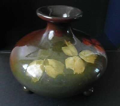 1896-1924 LOUWELSA Line WELLER Pottery 3 FOOTED SQUAT VASE.  PERFECT!