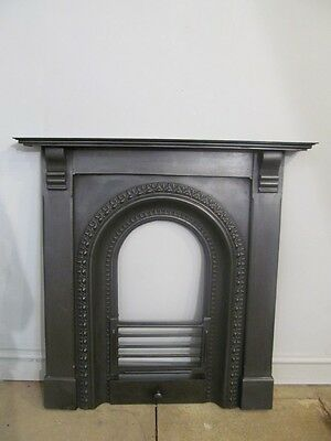 Original Antique Large English Cast Iron Arched Fireplace / Fire Mantel
