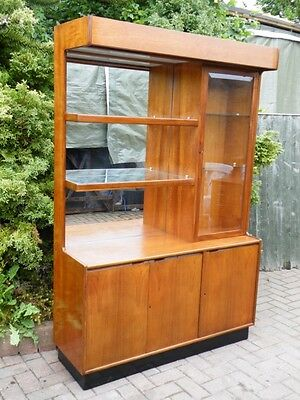 Mid Century Danish 1960's Large Mirrored Teak Wall Unit, Bookcase, Drinks Bar