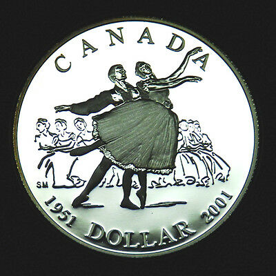 2001 Canadian silver $1 coin that commemorates the National Ballet of Canada