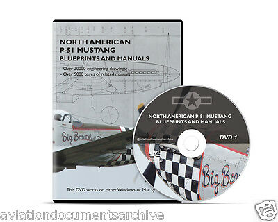 North American P-51 Mustang Blueprints and Manuals CD/DVD- Free Shipping