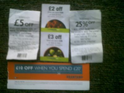 £20.00 Worth of Supermarket Money Off Vouchers Coupons coop w h smith brantano
