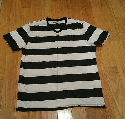 Mens Old Navy striped blue and white v neck t shirt short sl large