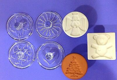 Lot of 7 Cookie Stamp Press glass terra cotta christmas angel tree hearts clover