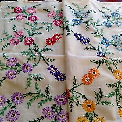Vintage Hand Embroidered Yellow Woven Cotton Table Cloth 39X41 Inches