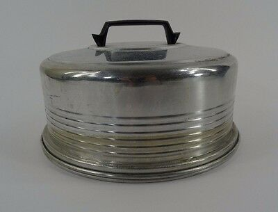 Vintage Cake Plate with Cover Metal Aluminum
