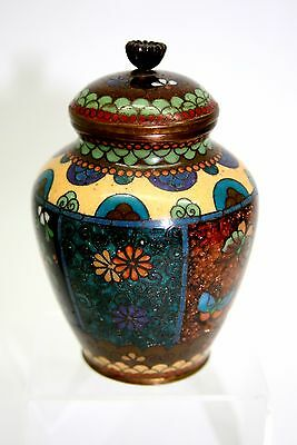Stunning Japanese Cloisonne Small Lidded Pot Silver Wire Meiji Period