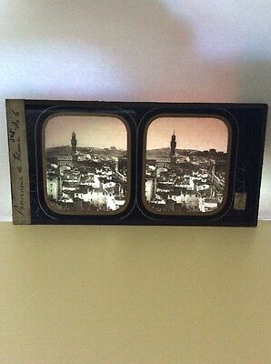 Stereograph Stereoview Florence Italy On Glass (Not Card) Rare