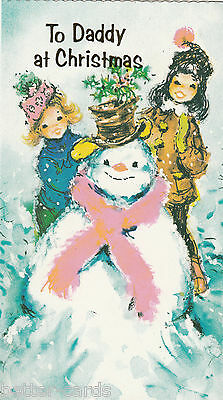 Happy Christmas Daddy Vintage 1970's Greeting Card - Merry Snowman