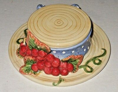 Fitz and Floyd Victorian Straw Hat Pin / Dresser Jar w/ Grapes and Polka Dot Bow
