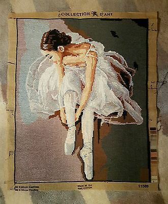 Completed cross stitch embroidered picture,ballerina - beautiful & large - new