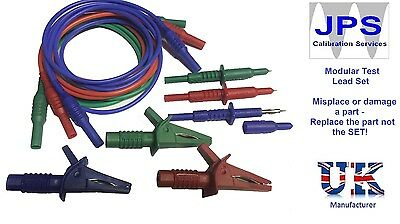 Fluke 1653 Tester Test Leads Probes Crocodile Alligator Clips