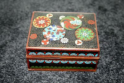 Stunning Japanese Cloisonne Lidded Box Fine Silver Wired Meiji Period