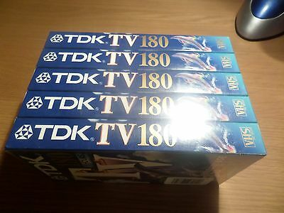Tdk Tv 180 Video Tapes  Pack Of 5 New And Sealed