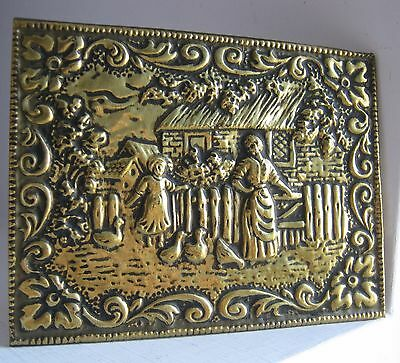 Antique Brass embossed plaque rustic farm scene, ducks, wall hanging, small, art
