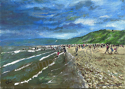 Filey Bay Coast Signed Art Print of original Painting by Claire Strickland