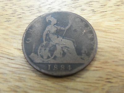 1884 one penny coin Queen Victoria. 1 penny. used