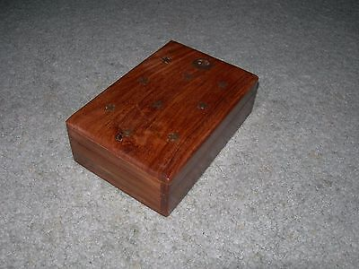 SUPERIOR WOODEN TRINKET BOX with Brass Inlaid Stars and Moon on Lid ~ Felt LIned
