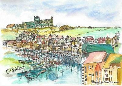 Whitby Harbour CS Signed Art Print of original Painting by Claire Strickland
