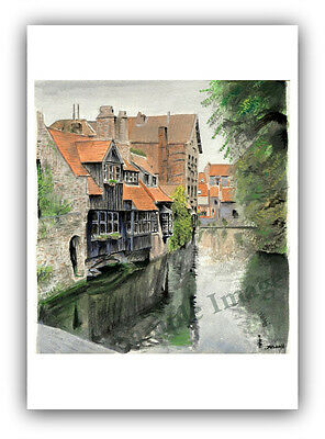 Reflections of Bruges Signed SRussell Art Print of original Watercolour Painting