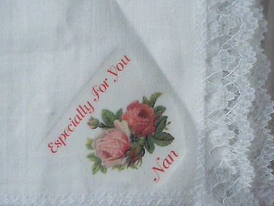 Vintage Lace Trimmed White Cotton Handkerchief (Especially for you nan)