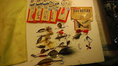 Vintage Fishing Lures, Spinners, Lot of 20, Roostertail, Shyster, Needlefish