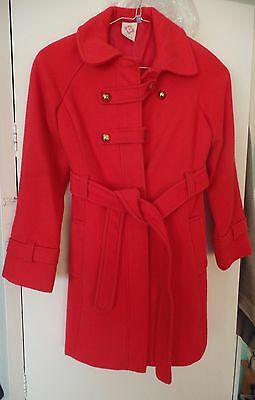 Girls John Lewis Classic Red Military Style Coat Age 8 Years