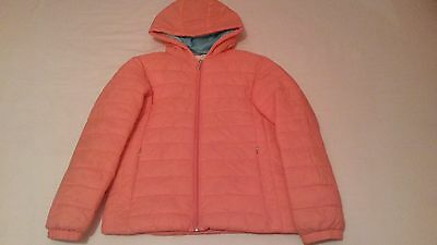 Girls Pink/Turquoise zipped, padded, hooded jacket to fit age 13/14 years