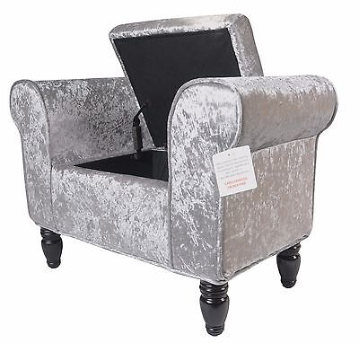 Single Chaise Longue, Storage, Lounge Seat, Chair, Crushed Velvet Silver, Grey